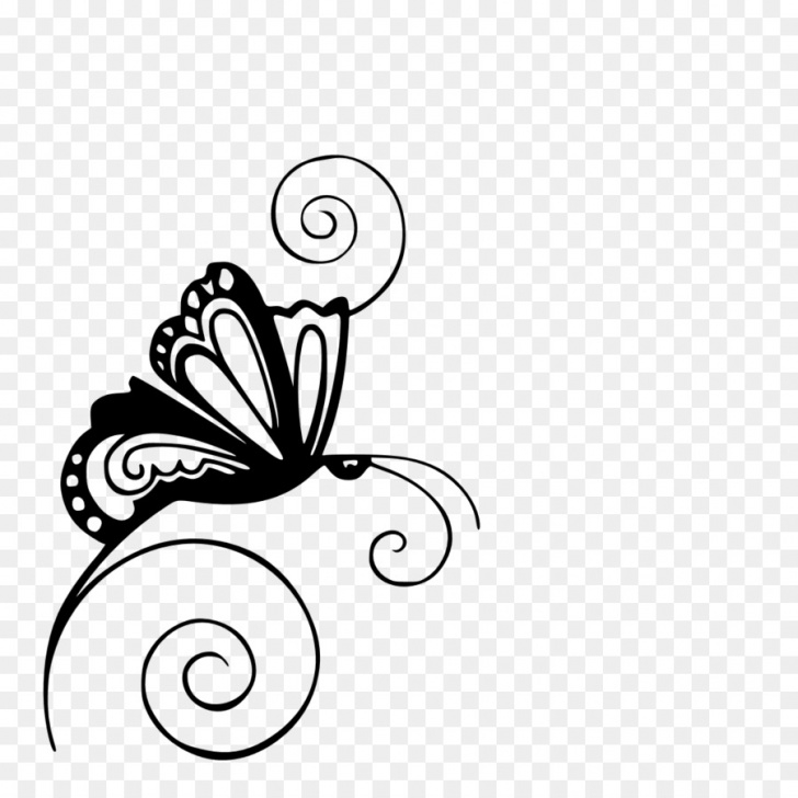 Stunning Butterfly Stencil Art Courses Black And White Flower Png Download - 1080*1080 - Free Transparent Picture