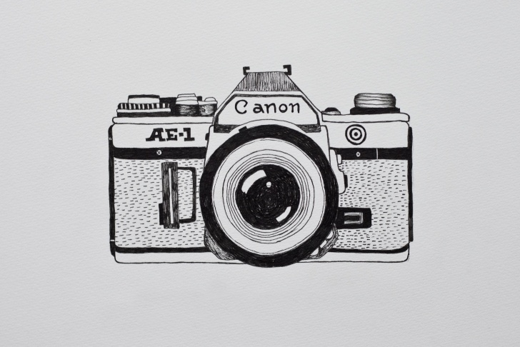 Stunning Camera Pencil Sketch Ideas Pencil Sketch Camers Images And Camera Drawing Illustration Canon Photo