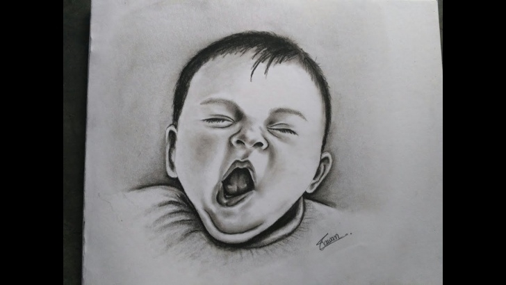 Stunning Charcoal Drawing For Kids Easy How To Draw Realistic Yawning Baby With Charcoal // Drawing Of Baby / Kid  // Realistic Baby Drawing Images