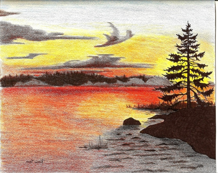 Stunning Colour Pencil Drawing Landscape Simple Landscape Drawing Coloured At Paintingvalley | Explore Image