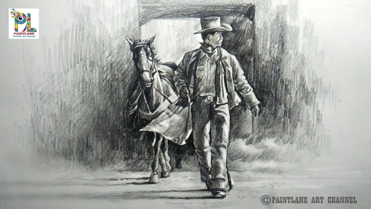 Stunning Cowboy Pencil Drawings Ideas How To Draw And Shade Cowboy Walk With A Horse With Pencil | Step By Step Picture