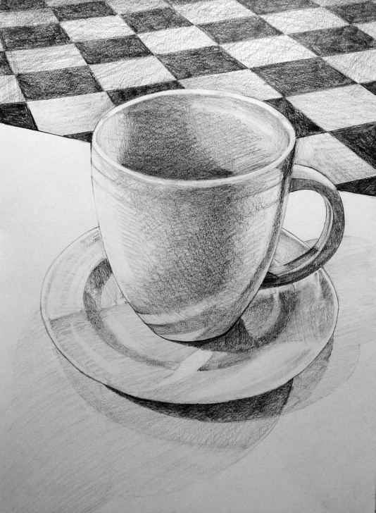 Stunning Cup And Saucer Pencil Drawing Techniques Cup And Saucer Sketch At Paintingvalley | Explore Collection Of Photo