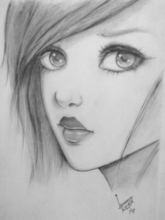 Stunning Cute Girl Pencil Drawing Ideas Cute Girl Sketch Images At Paintingvalley | Explore Collection Picture