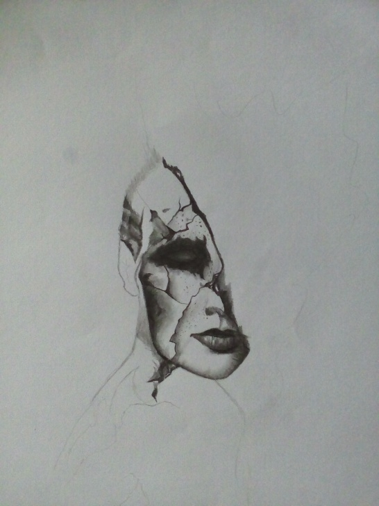 Stunning Dark Pencil Drawings Techniques Progress On The Broken Dark Portrait-Pencil Drawing-Showing The Pic
