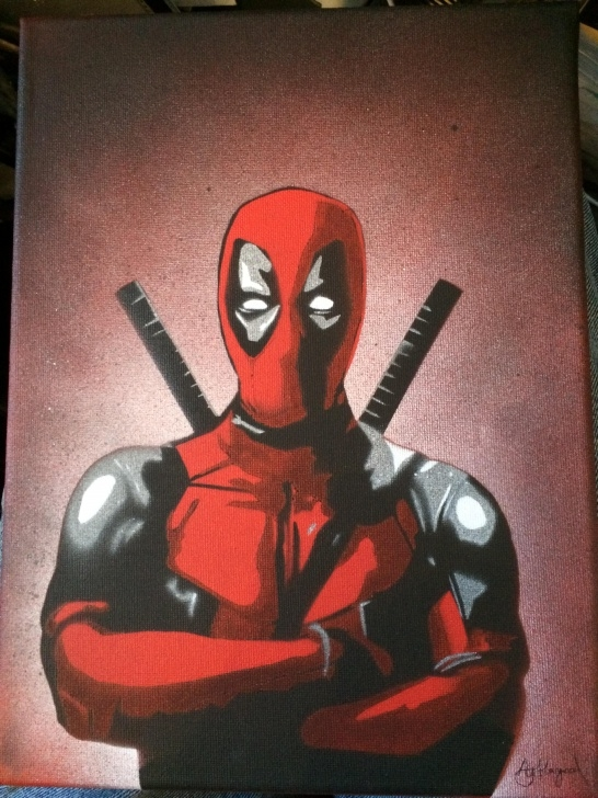 Stunning Deadpool Stencil Art Step by Step Not Very Original (Deadpool), But Here's My First Attempt At Using Pics