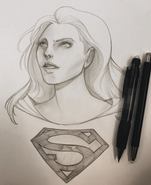 Stunning Different Pencil Drawing Tutorial Pencil Drawing Of Supergirl! Tried A Different Approach To Rendering Photos