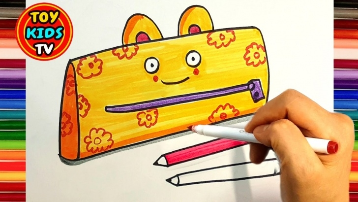 Stunning Drawing Of Pencil Box Techniques for Beginners How To Draw A Backpack And Pencil Case   School Supplies   Painting With  Color Marker Pic