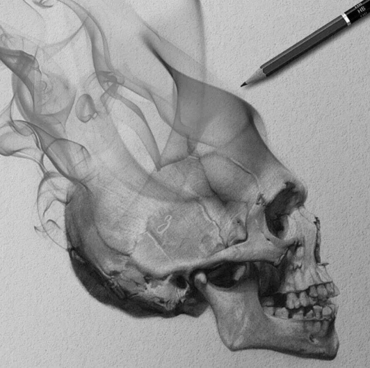 Stunning Drawing Smoke With Pencil Tutorials Smokin Skull, Realistic Drawing | Skull | Smoke Drawing, Pencil Photo