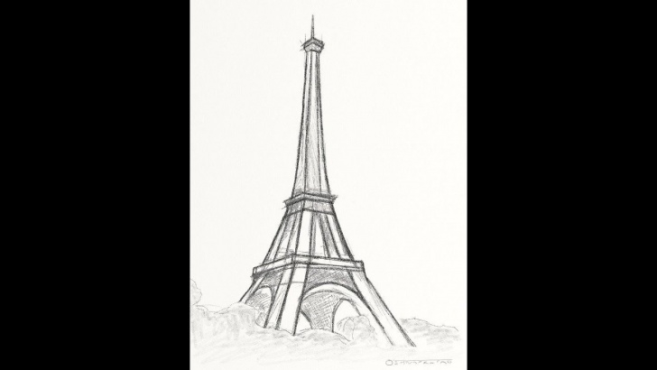 Eiffel Tower Pencil Drawing