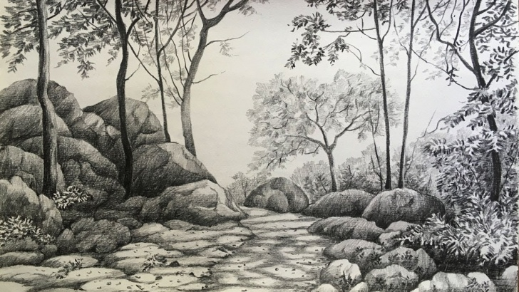 Stunning Forest Pencil Drawing Simple Landscape Drawing In Pencil | Forest Drawing | Pencil Sketch Picture