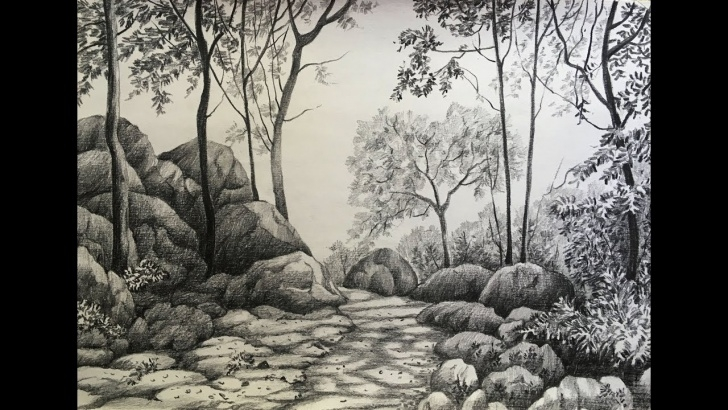 Stunning Forest Pencil Sketch Lessons Pencil Drawing Of A Forest At Paintingvalley | Explore Pictures
