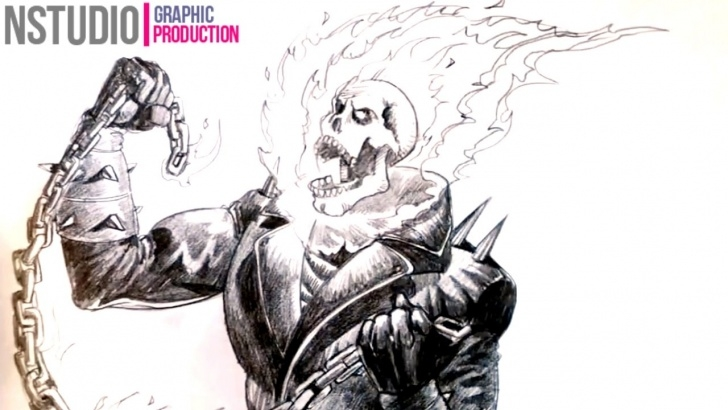 Stunning Ghost Rider Drawings In Pencil Courses How To A Draw Ghost Rider Step By Step Picture