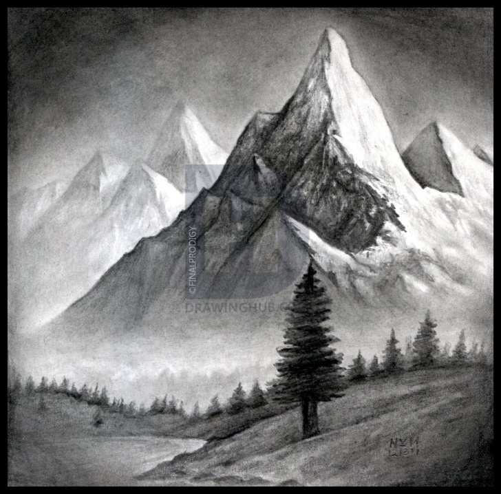 Stunning Graphite Landscape Drawings for Beginners How To Draw A Realistic Landscape, Draw Realistic Mountains, Step By Pics
