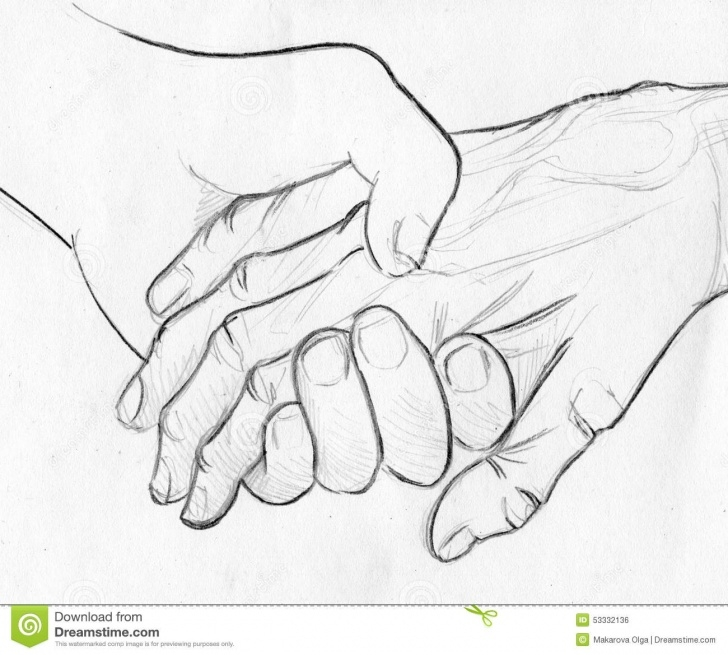 Stunning Hand Pencil Sketch Free Holding Elderly Hand - Pencil Sketch Stock Illustration Photos