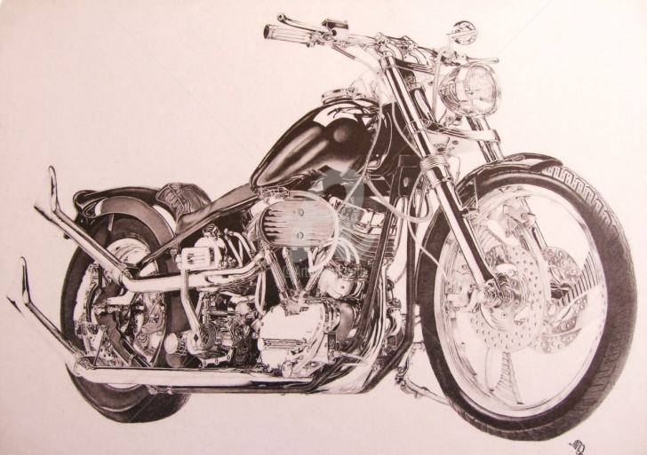Stunning Harley Davidson Pencil Drawings Simple Steel Life Drawing By Marc G. Doutherd | Artmajeur Picture