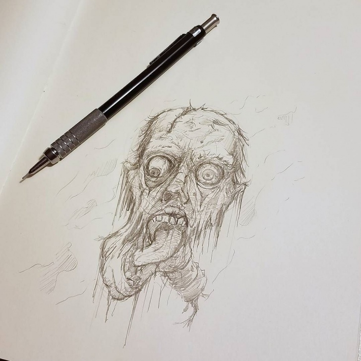 Stunning Horror Pencil Sketches Ideas Some Ghoulish Before I Head To Bed! #art #horror #face #scary #dead Images