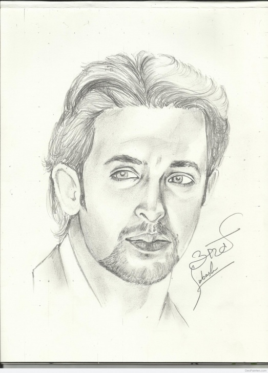 Stunning Hrithik Roshan Pencil Sketch Simple Pencil Sketch Of Hrithik Roshan | Desipainters Picture