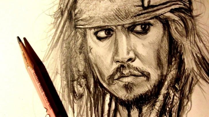 Stunning Jack Sparrow Pencil Sketch Courses Asmr | Pencil Drawing 116 | Captain Jack Sparrow (Request) Image