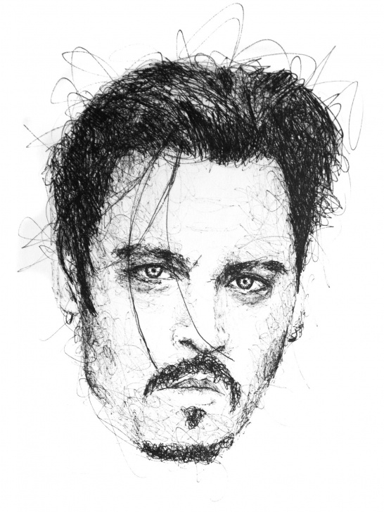 Stunning Johnny Depp Sketch Step by Step Johnny Depp Scribble Portrait By Gus Romano. Sketch With Black Pen Images