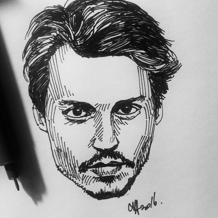 Stunning Johnny Depp Sketch Tutorial Cva Artist.™ — 10 Minutes Portrait Of The Young #johnnydepp - Picture