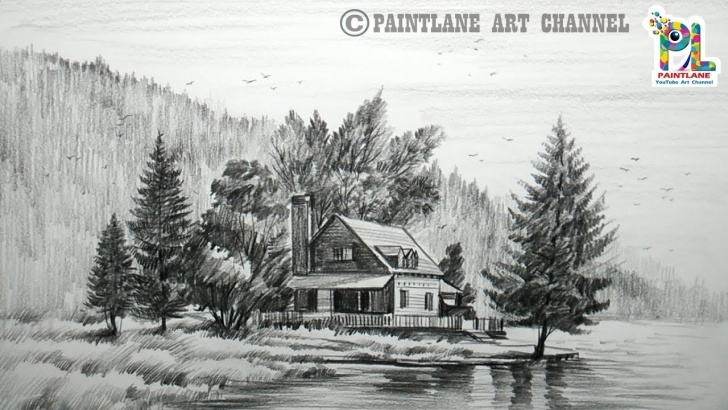 Stunning Lake Pencil Drawing Techniques for Beginners How To Draw Wooden House At Mountain Landscape | Easy - Paintingtube Images