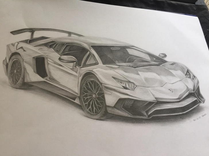 Stunning Lamborghini Pencil Drawing for Beginners Pencil Drawing Of A Lamborghini Aventador [Oc] : Sketches Picture
