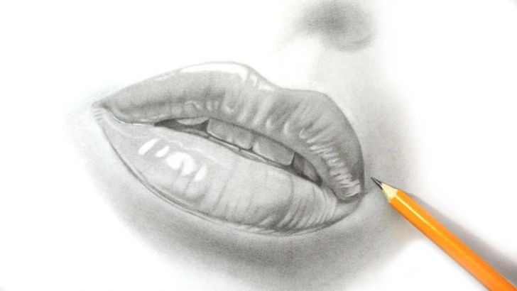 Stunning Lip Pencil Sketch Tutorials How I Draw Lips - Realistic Pencil Drawing Picture