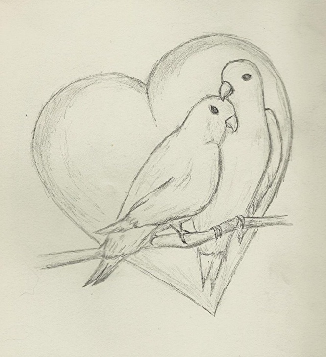 Stunning Love Birds Pencil Drawing Free Love Birds Sketch At Paintingvalley | Explore Collection Of Love Pictures