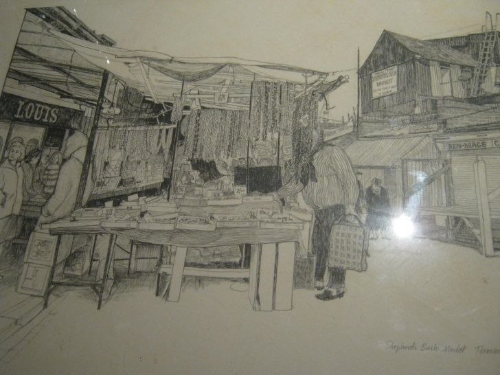 Stunning Market Pencil Drawing Easy Terence Dalley, Pencil Drawing Of Shepherd's Bush Market 1968 | Home Photo