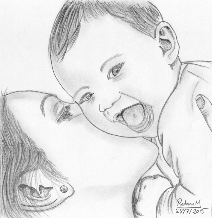Stunning Mom And Baby Pencil Drawing Lessons Smile To The Camera Drawn In 2015 #pencil #sketch #portrait #baby Image