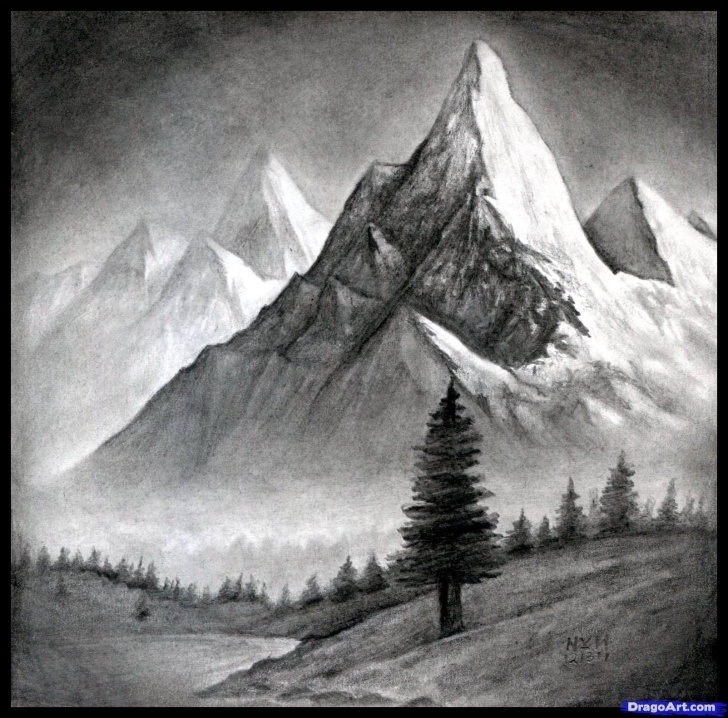 Stunning Mountain Pencil Drawing Tutorials How To Draw A Realistic Landscape, Draw Realistic Mountains Pic