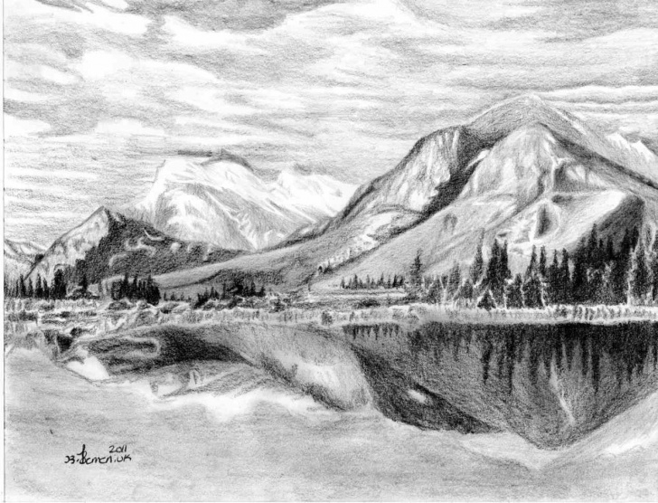 Stunning Mountain Scenery Sketch Simple Mountain Scenery Sketch At Paintingvalley | Explore Collection Image