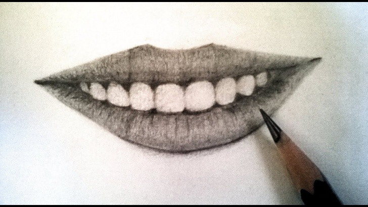 Stunning Mouth Pencil Drawing Easy How To Draw Realistic Lips Using Pencil : Teeth And Lips With Pencil Photo