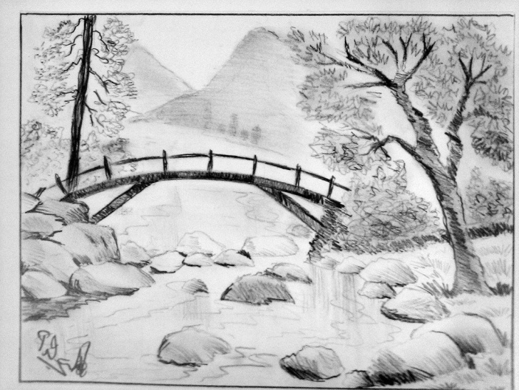 Stunning Nature Scenery Sketch Simple Pencil Sketch Scenery At Paintingvalley | Explore Collection Of Photos
