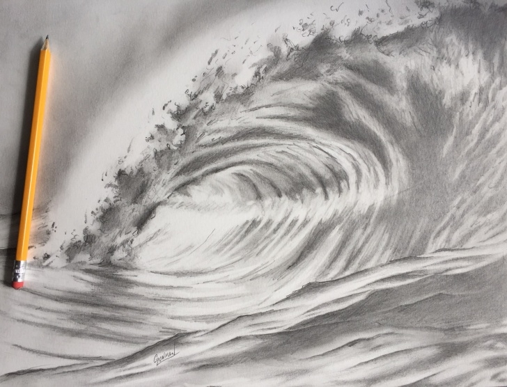 Stunning Ocean Pencil Drawing for Beginners Ocean Wave - Pencil Drawing - Album On Imgur Picture
