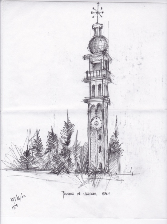 Stunning Outdoor Pencil Sketches Ideas Tower In Venice Pencil Sketching Practice By: Francis Rocha/thomas C Photo