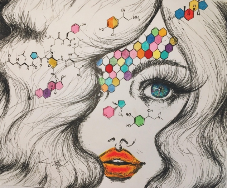 Stunning Pen And Colored Pencil Drawings Tutorials A Biochemical Tryst, Ballpoint Pen/colored Pencil/marker, 11.25X14 Pic