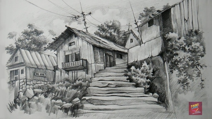 Stunning Pencil Art House for Beginners How To Draw And Shade Old Wooden Houses With Pencil Images