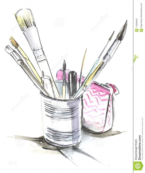 Stunning Pencil Box Sketch Courses Sketch Of Tin Can With Art Brushes. Pink Pencil Case. A Quick Sk Photos