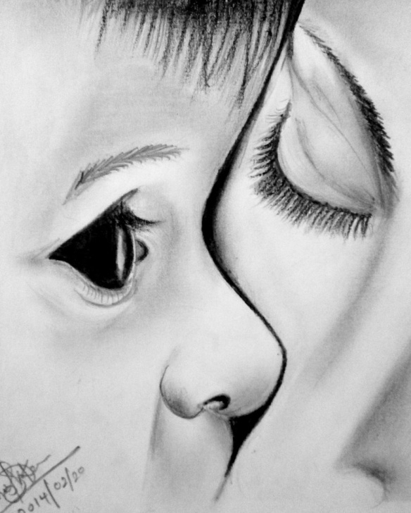 Pencil Drawing Mother And Child