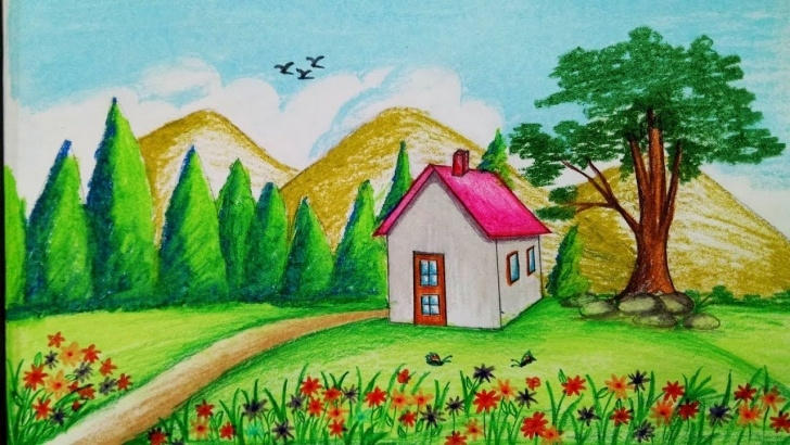 Stunning Pencil Drawing Of Spring Season Ideas How To Draw Spring Season Scenery With Oil Pastel.step By Step(Easy Images