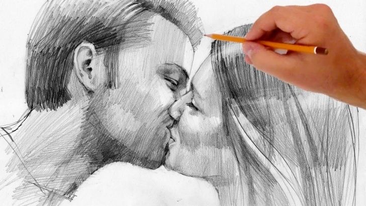 Stunning Pencil Drawings Of People Free How To Draw Kissing People - Valentine's Day Special Picture