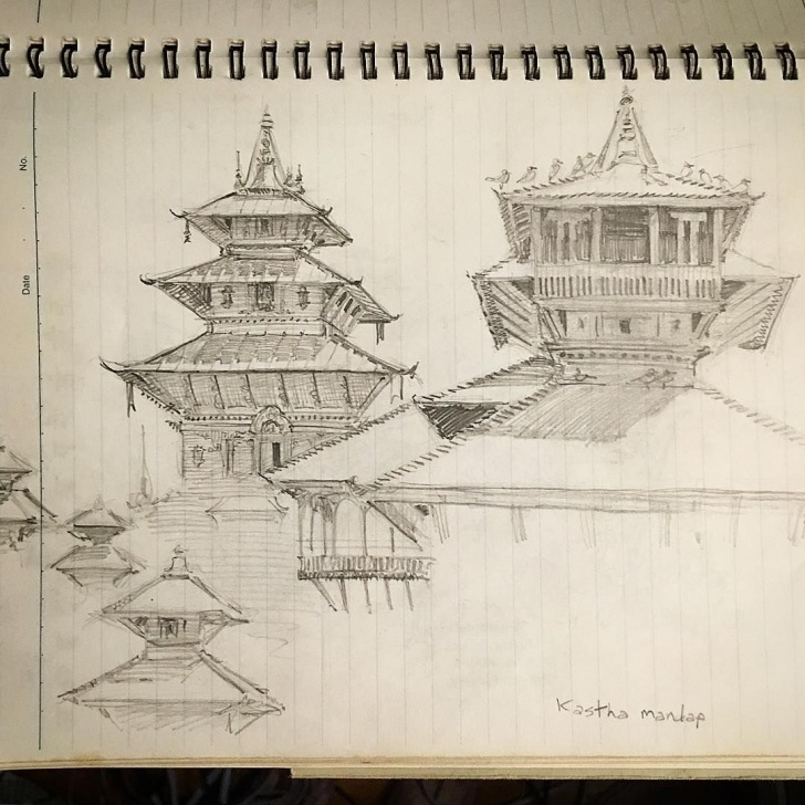 Stunning Pencil Drawings Temple Step by Step Pencil Sketch I Made Years Ago At Kasthamandap Temple In Nepal Picture