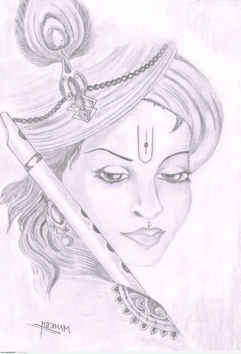 Stunning Pencil Shade Drawing Of Krishna Free Lord Krishna Sketches Simple Hd Sketches Of Lord Krishna Jai Shree Image
