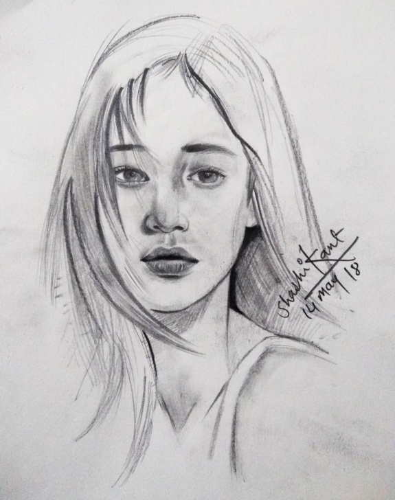 Stunning Pencil Shading Of Girl Ideas Pencil Shading Portrait Of A Girl Sketching #watercolour #lady #face Pic