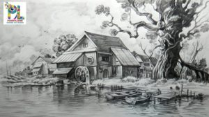 Stunning Pencil Shading Scenery Step by Step How To Draw And Shade A Scenery With Pencil   Easy Pencil Strokes Images