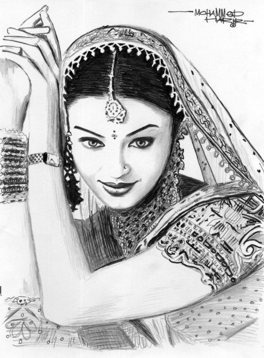 Stunning Pencil Sketch Of Aishwarya Rai Easy Aishwarya Rai | Charcoal/pencil Painting In 2019 | Drawings, Pencil Picture