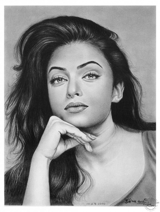 Stunning Pencil Sketch Of Aishwarya Rai Simple Beautiful Pencil Sketch Aishwarya Rai Realistic Art Pencil Drawing Photo