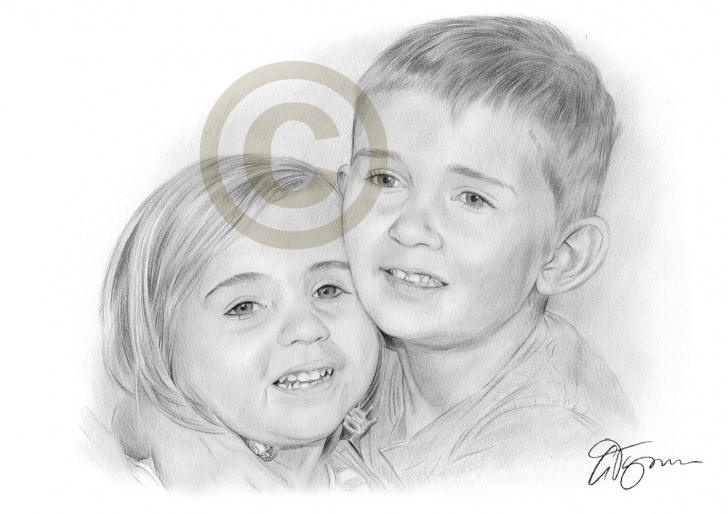 Stunning Pencil Sketch Of Brother And Sister for Beginners Pencil Drawing Of A Brother And Sister By Artist Gary Tymon Image