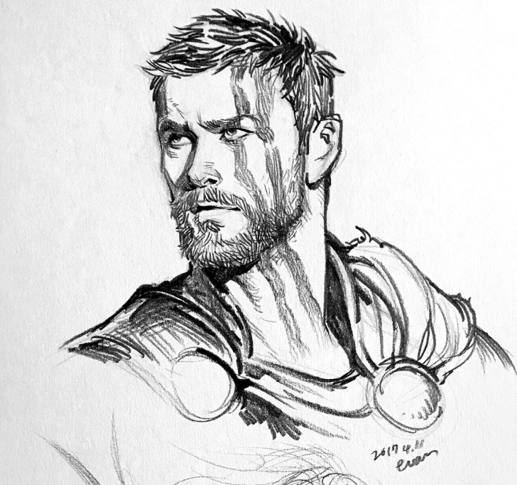 Stunning Pencil Sketch Of Thor Tutorial New Fanart From Thor: Ragnarok (Source: Tumblr) | Boy Haircuts Pic